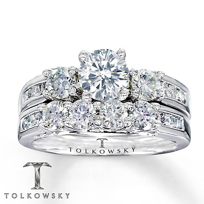 kay jewelers diamond bridal set 1 7 8 ct tw round cut 14k white gold bridal - Wedding Rings At Kay Jewelers