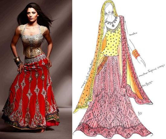 Hues of mustard, orange, brown and red- the perfect attire for a beautiful indian bride