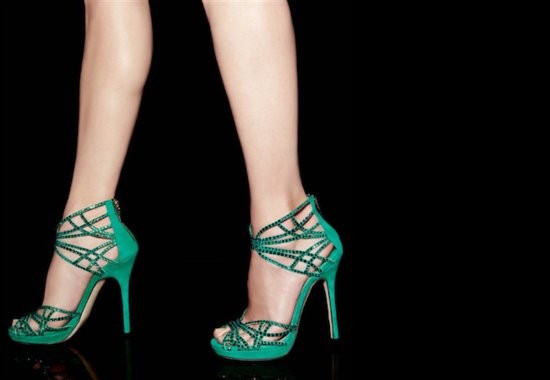 photo of Emerald green with crystals wedding shoes