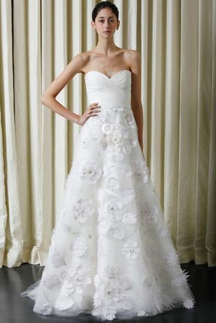 Silk white chiffon Monique Lhuillier wedding dress, strapless, origami embroidered skirt