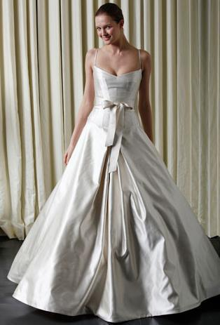 Latte silk orchidea Monique Lhuillier wedding dress with full skirt