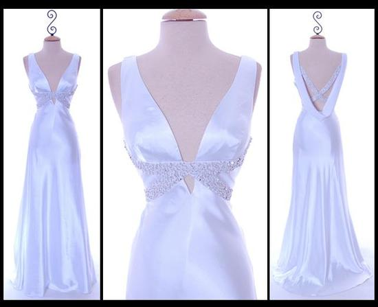 Chic and glamourous satin drape back white wedding dress