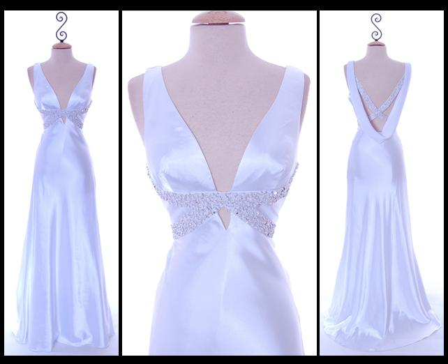 Unique-vintage-chic-glamourous-satin-low-back-criss-cross.original