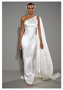 Simple and elegant white satin wedding dress, one shoulder