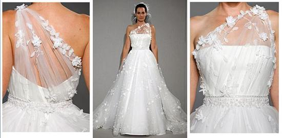 Beautiful white wedding dress, asymmetrical with floral details, full skirt