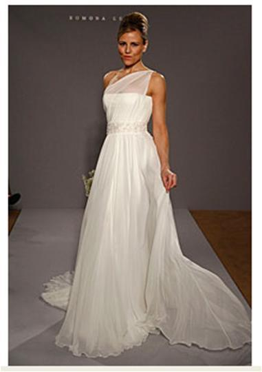 White one shoulder wedding dress, sheer at shoulder, white crystal detail under bust