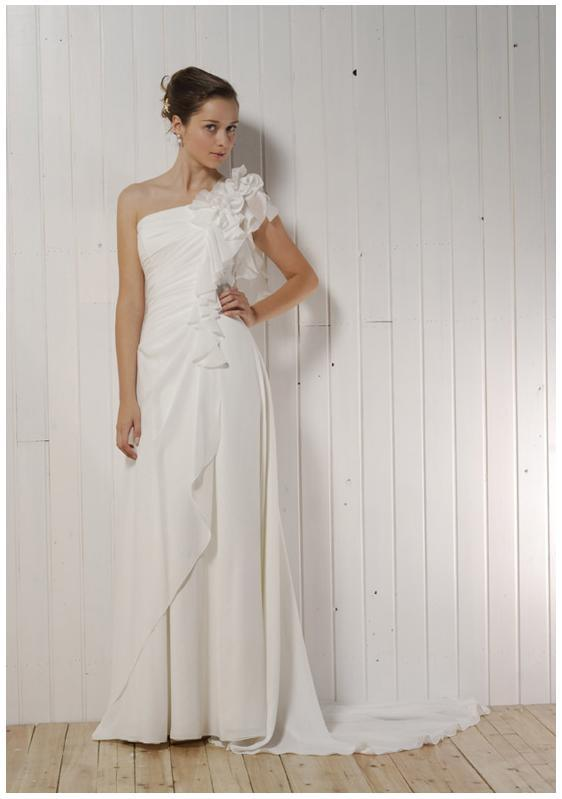 Exotic-asymmetrical-wedding-dresses-one-shoulder-white-rouching-floral-detail-at-shoulder.full