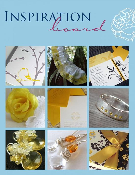 Let sunshine inspire your wedding theme, with bright golds, yellows, and more