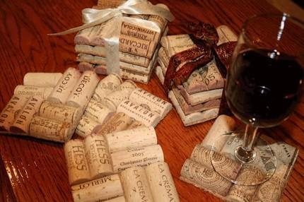 Make unique wine cork coasters for favors for your wedding guests