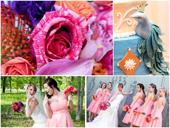 Vibrant fuchsia, purple, orange bouquet; bridesmaids in peach; beautiful peacock cake