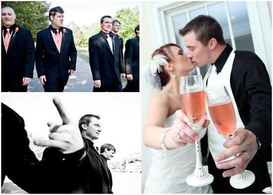 Bride and groom toast with champagne glasses; groomsmen in black tuxes, peach tie and vest
