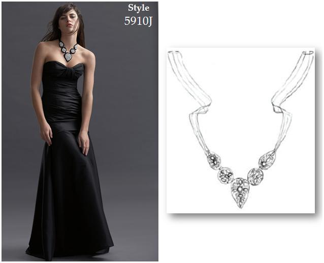 Beautiful Black Off White And Rhinestone Necklace For Bridesmaids