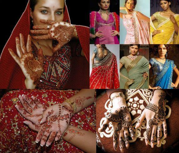Beautiful Indian brides in traditional bridal mehndi and henna designs