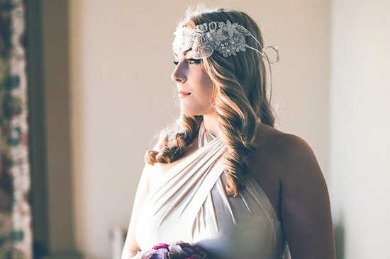 Crystal embellished floral wedding head wrap