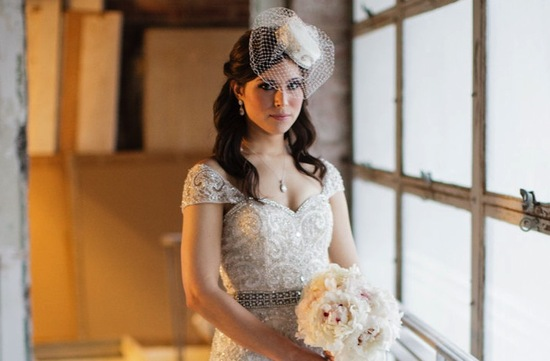 Vintage bridal hat with birdcage veil