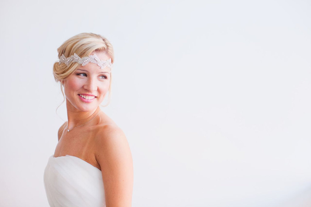 Beaded bridal head wrap with easy breezy updo