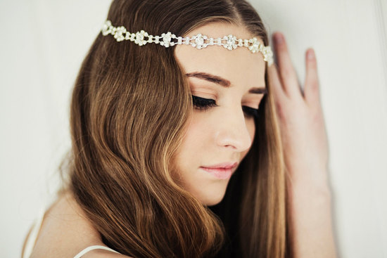 Bohemian waves with a crystal bridal tiara