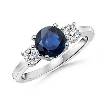 photo of Round-Sapphire-and-Diamond-Three-Stone-Ring--SR0160S-WG-AA-SA