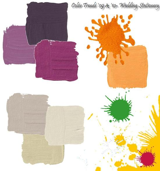 Top wedding invitation colors for 2009 and 2010- purple, orange, yellow, and grey