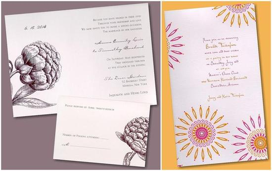 Gorgeous plum purple and white wedding invitations; orange, fuchsia, and white starburst invitation