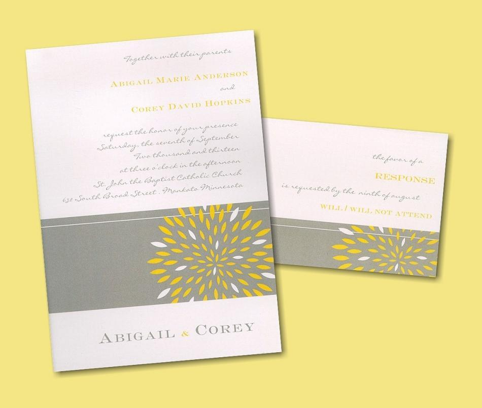 Grey and buttery yellow- the perfect pairing for your wedding invitation