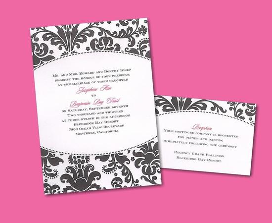Black and white damask, with a pop of hot pink, is perfect for an edgy, chic wedding