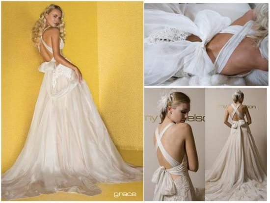 Stunning low-back wedding dress, ties in back, with full skirt by Amy Michelson