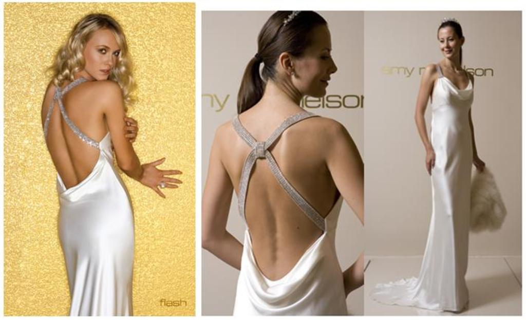 Stunning Low Back Wedding Dress Ties In With Full Skirt By Amy Michelson