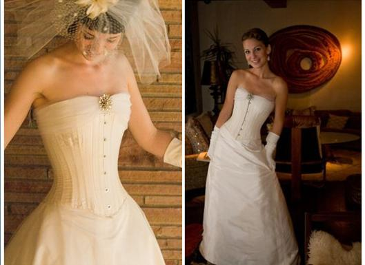 Gorgeous wedding dresses with corset top designed by Joan Shum