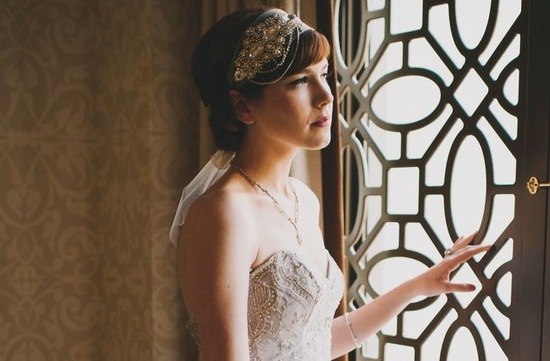 Art deco bridal headband with crystals