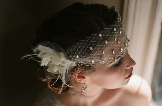Tulle and rhinestone bridal headpiece bandeau
