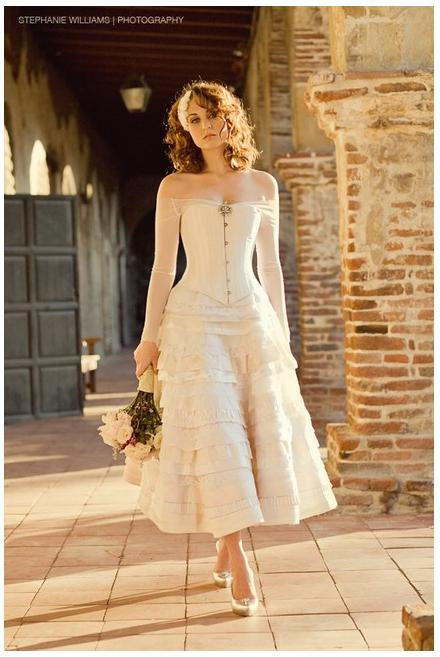 Stunning ivory t length wedding dress with beautiful for Old western wedding dresses