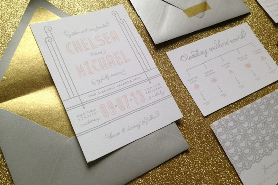 Elegant art deco wedding invites gray blush gold