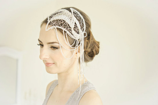 charleston wedding headpiece white pearls