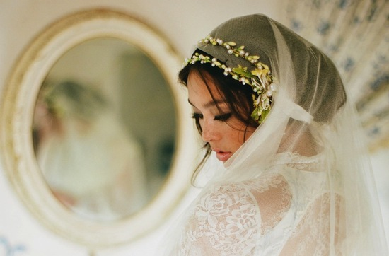 vintage inspired wedding veil with orange blossoms