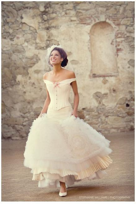 Fun And Flirty Off White Wedding Dress Frilly Skirt Pink Bow The Shoulder Corset