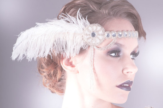 1920s inspired wedding headpiece flapper