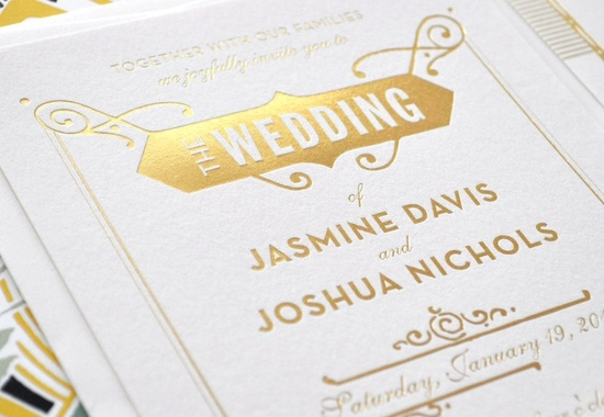 Gold white letterpress great gatsby invitations