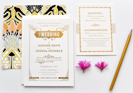 Elegant art deco wedding invitation suite