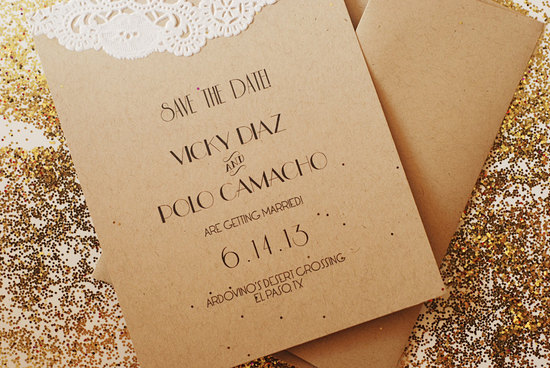 Unique kraft paper wedding save the date art deco