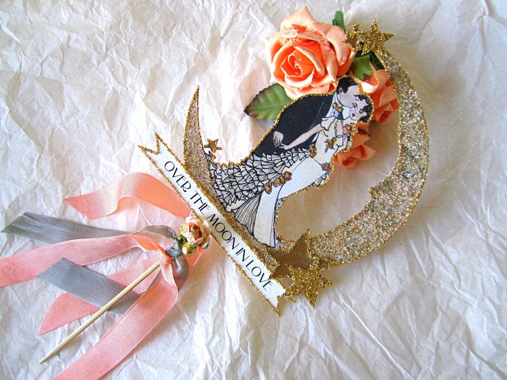 Gilded-wedding-cake-topper-with-roses.full