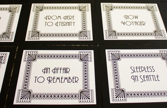 art deco escort cards ivory black