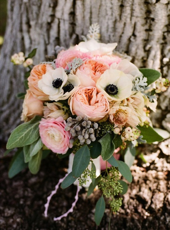 Wedding Bouquet inspiration Anemones and Garden Roses