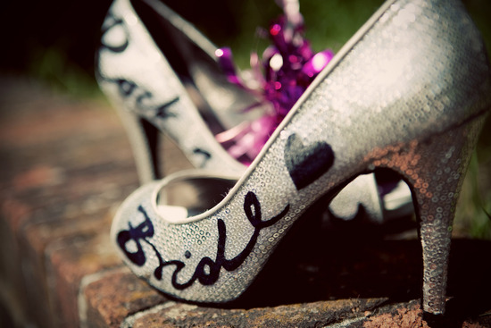 Silver wedding shoes with custom calligraphy