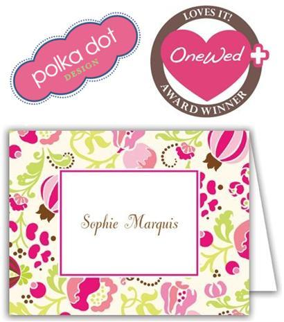 OneWed loves these adorable pink, green, white, and brown note cards from Polka Dot Design!