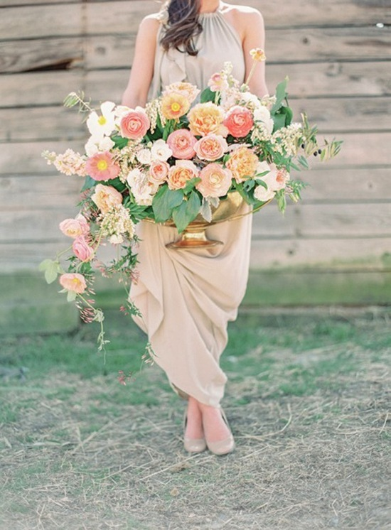 peach pink gold equestrian southern wedding 1