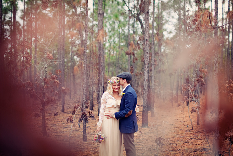 outdoor bohemian wedding bride groom couple photo