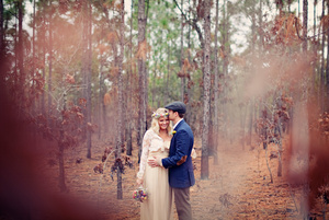 photo of outdoor bohemian wedding bride groom couple photo