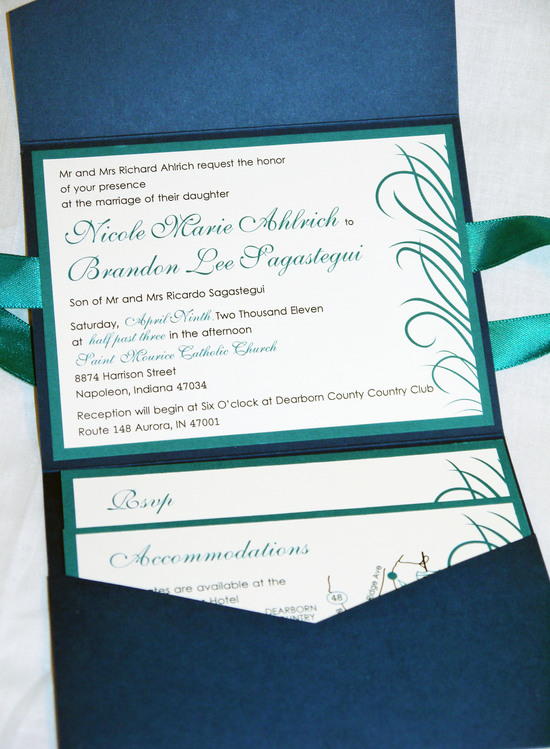 blue teal ribbon peacock feather pocketfold invitation b