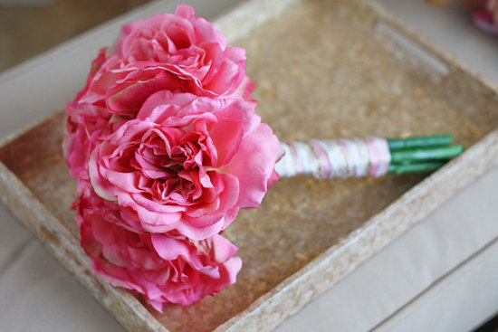 Hot pink rose wedding keepsake bouquet